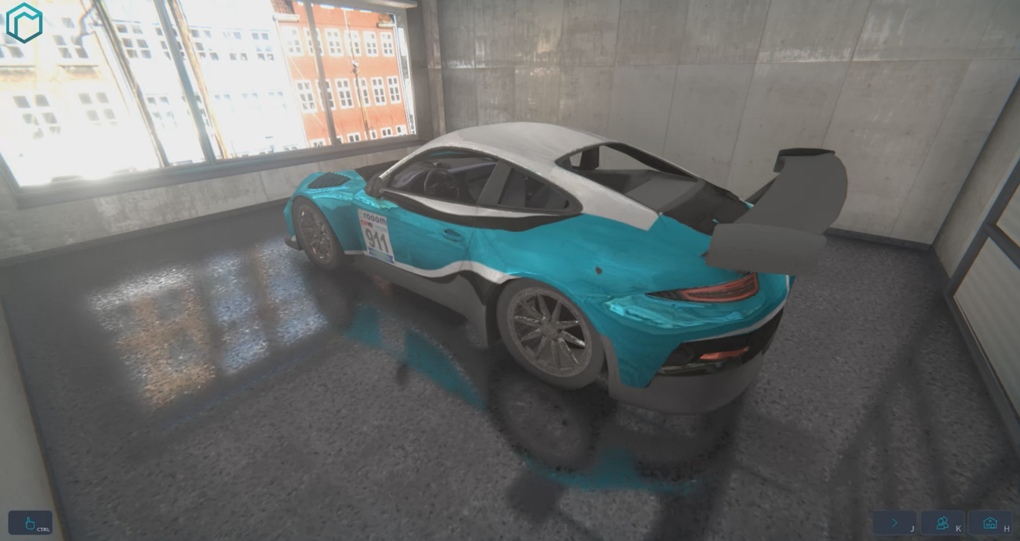VR environment with car