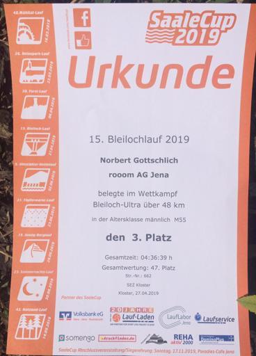 Urkunde 3. Platz Bleilochlauf