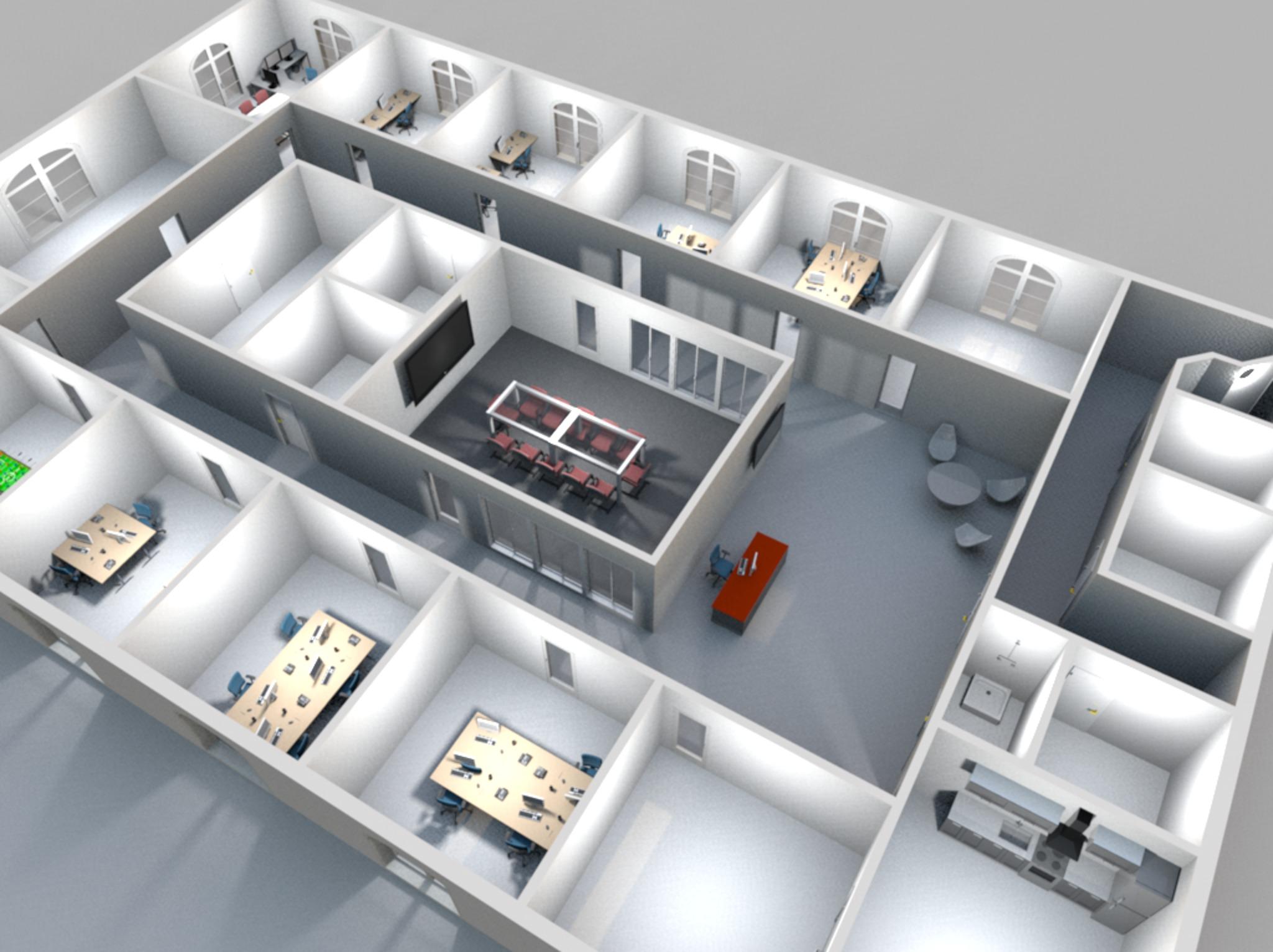 3D rendering office