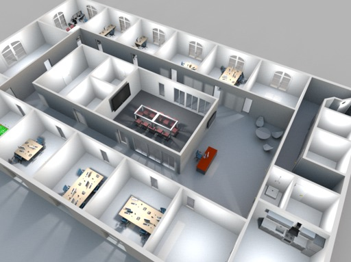 3D rendering office