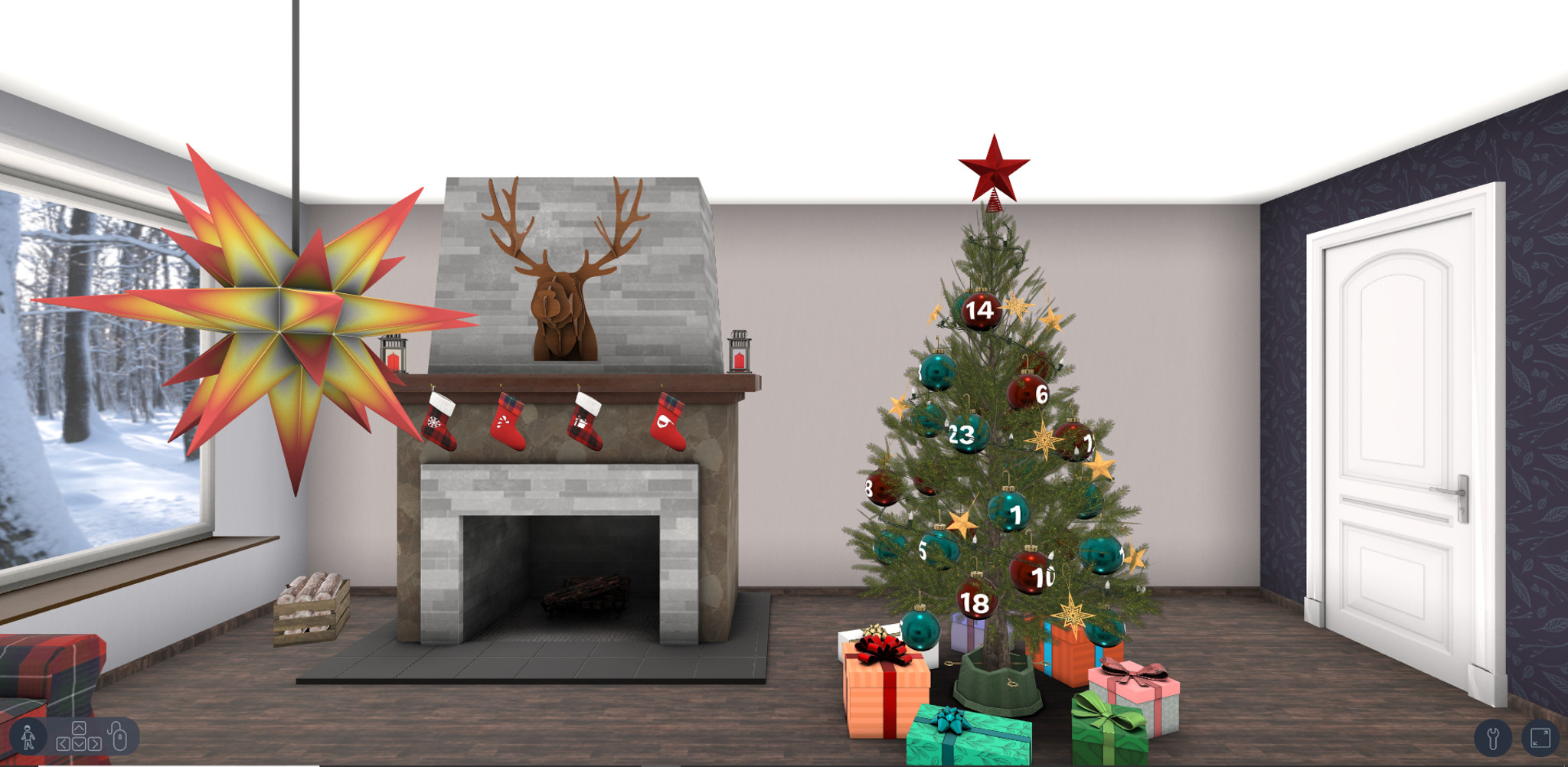 our interactive 3D Advent calendar in comfortably furnished Christmas rooms