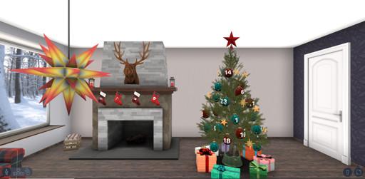 unser interaktiver 3D Adventskalender in gemütlich eingerichteten Weihnachtszimmer