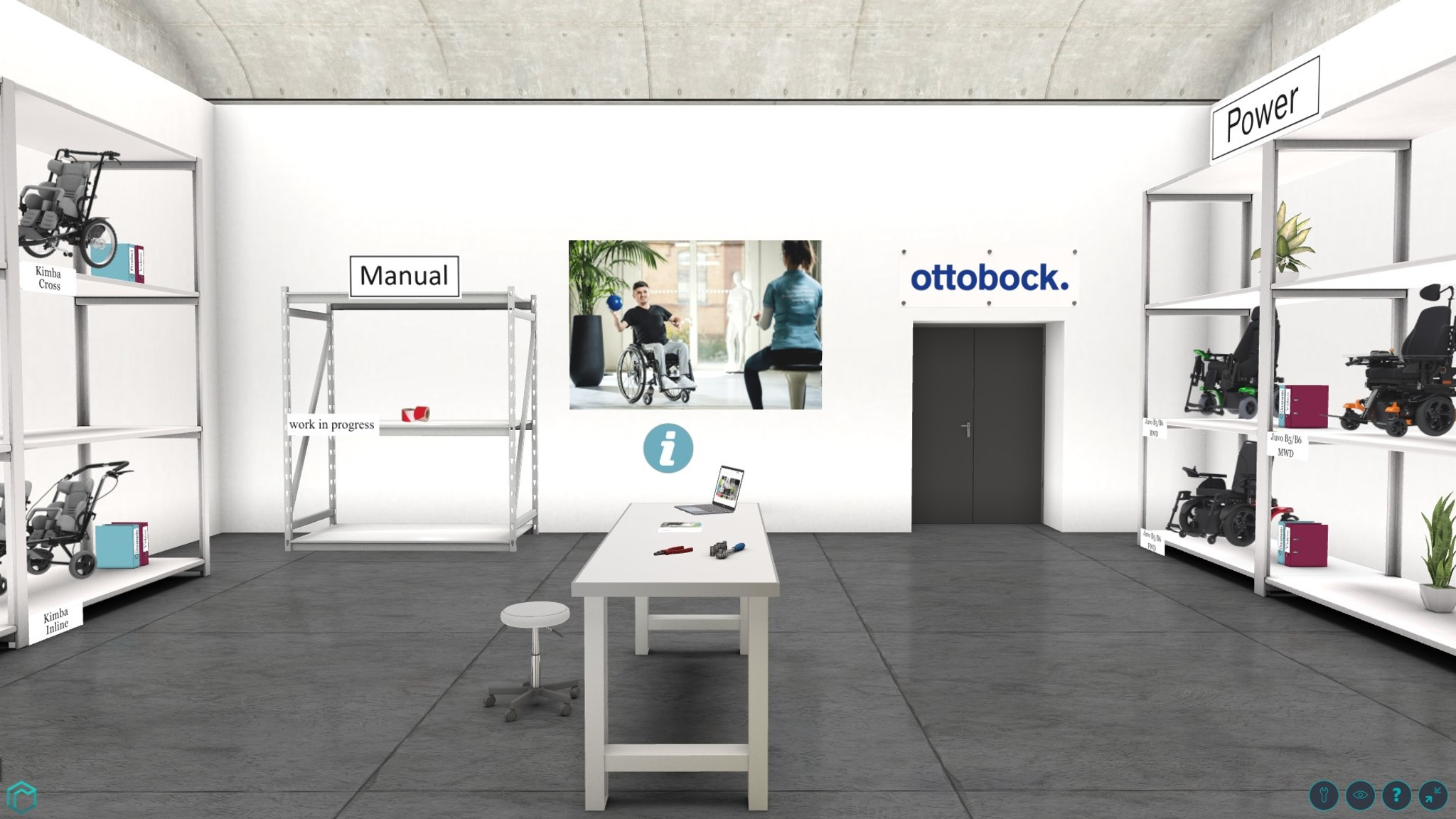 View of Ottobock's virtual workshop room