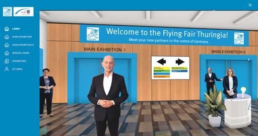 Eingangsbereich der virtuellen Messe Flying Fair Thuringia
